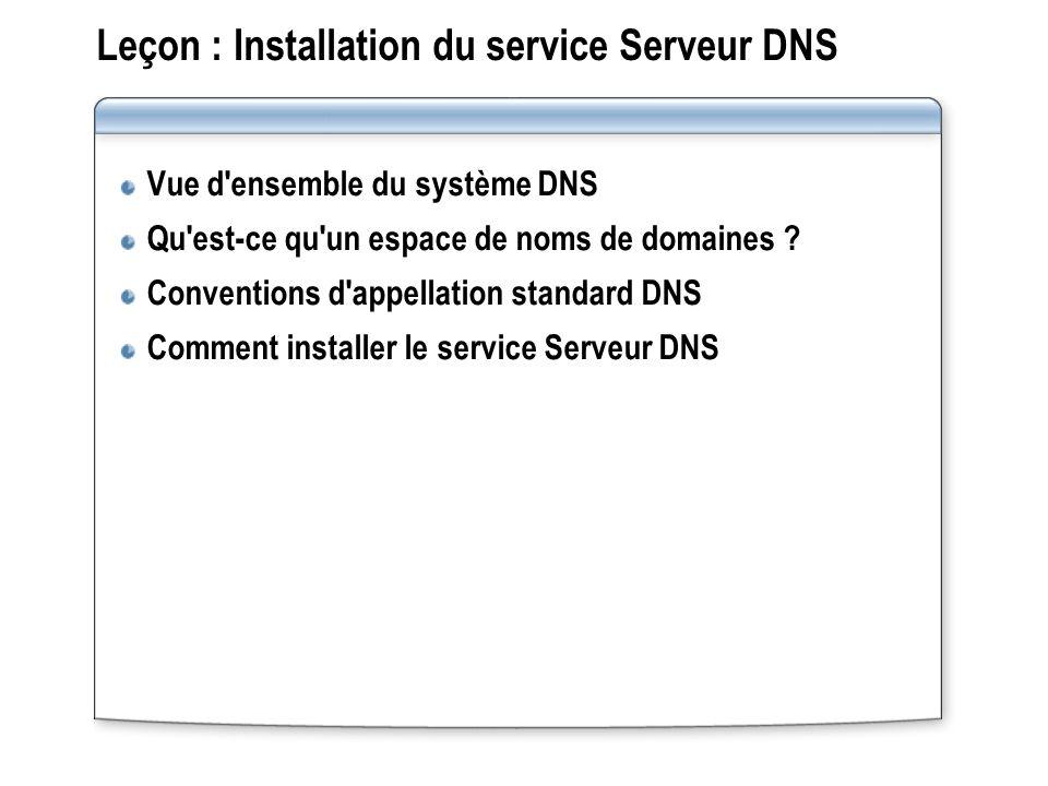 Leçon : Installation du service Serveur DNS