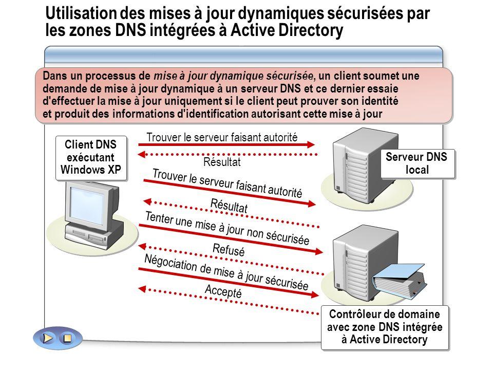 Utilisation des mises à jour dynamiques sécurisées par les zones DNS intégrées à Active Directory
