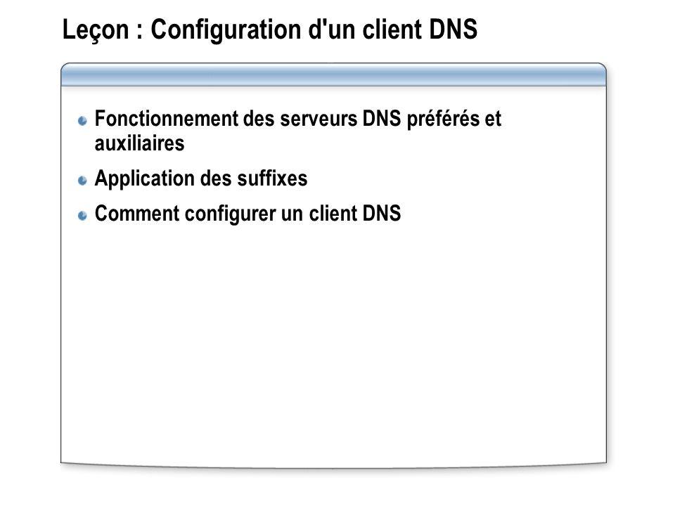 Leçon : Configuration d un client DNS