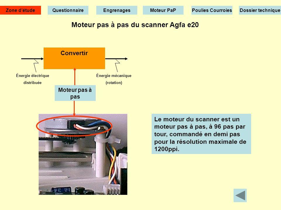 Moteur pas à pas du scanner Agfa e20