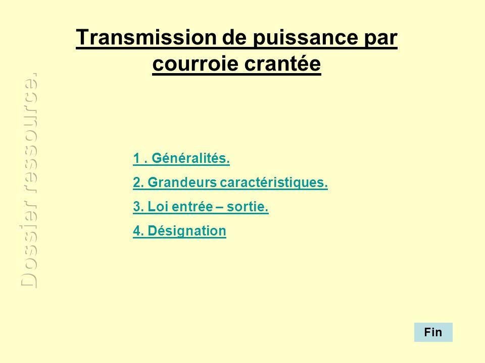 Transmission de puissance par courroie crantée