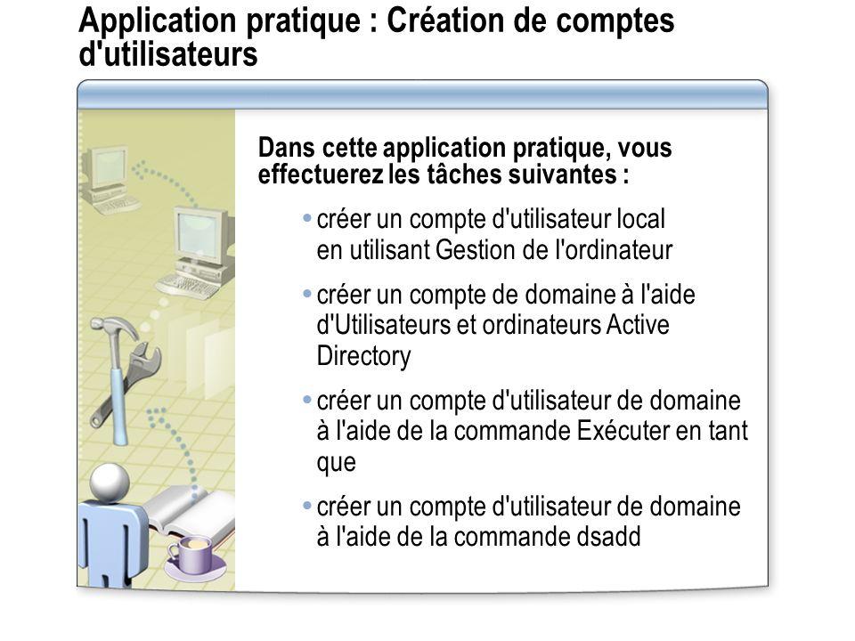 Application pratique : Création de comptes d utilisateurs