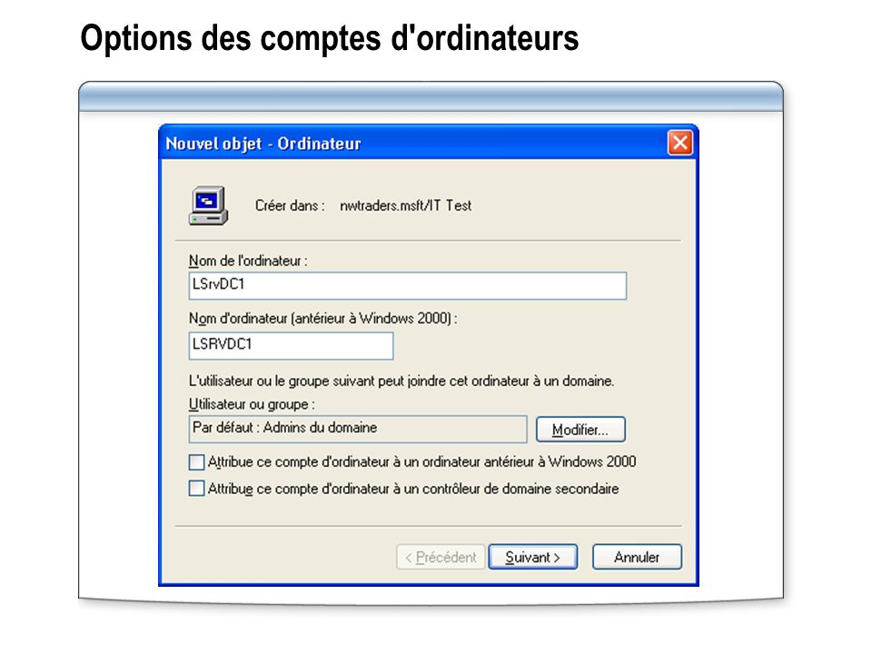 Options des comptes d ordinateurs