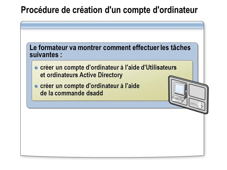 Procédure de création d un compte d ordinateur