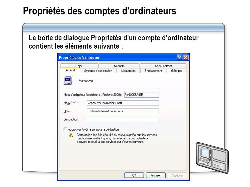 Propriétés des comptes d ordinateurs