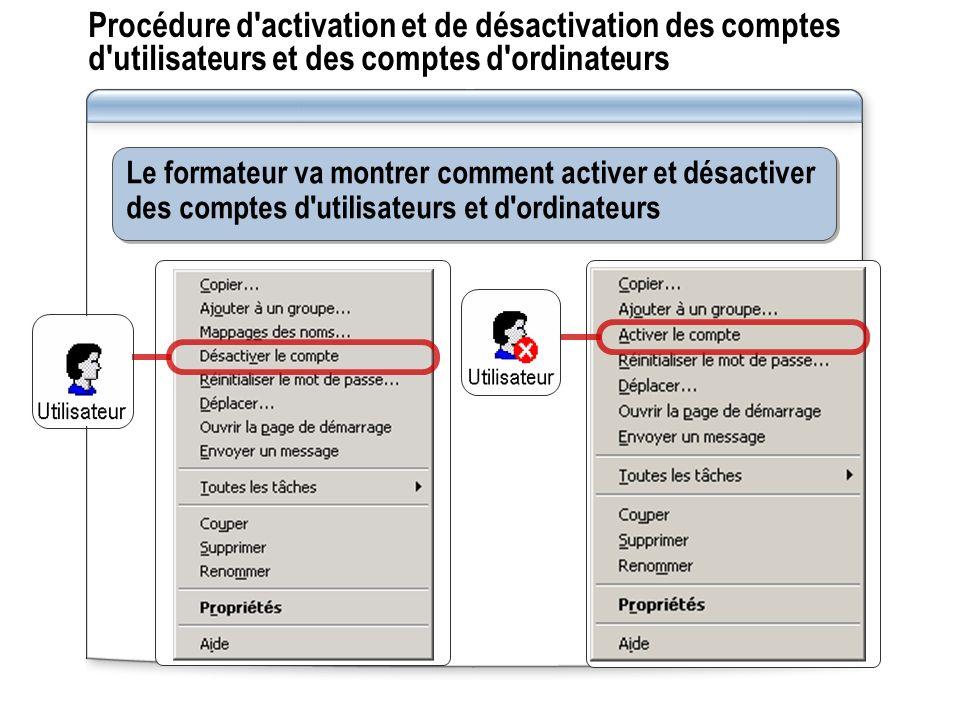Procédure d activation et de désactivation des comptes d utilisateurs et des comptes d ordinateurs