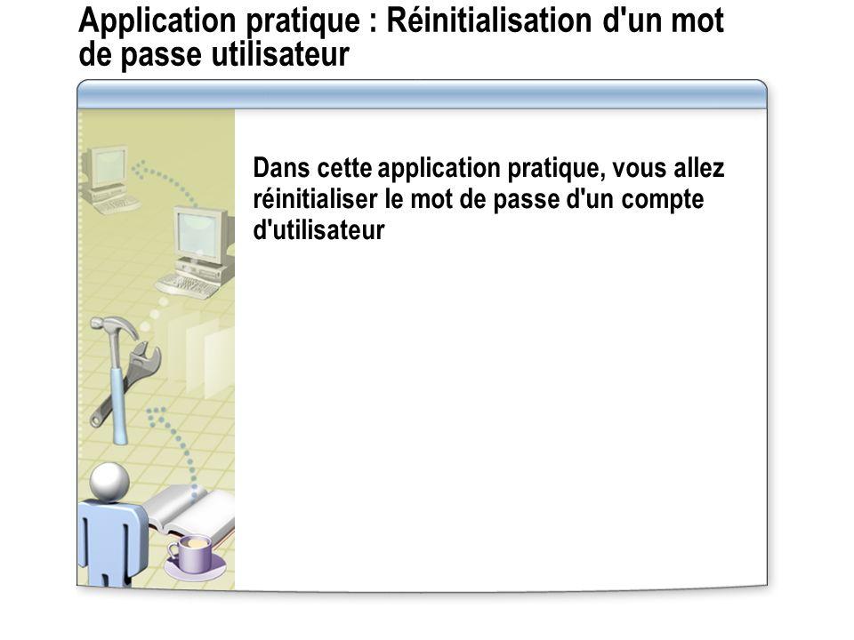 Application pratique : Réinitialisation d un mot de passe utilisateur