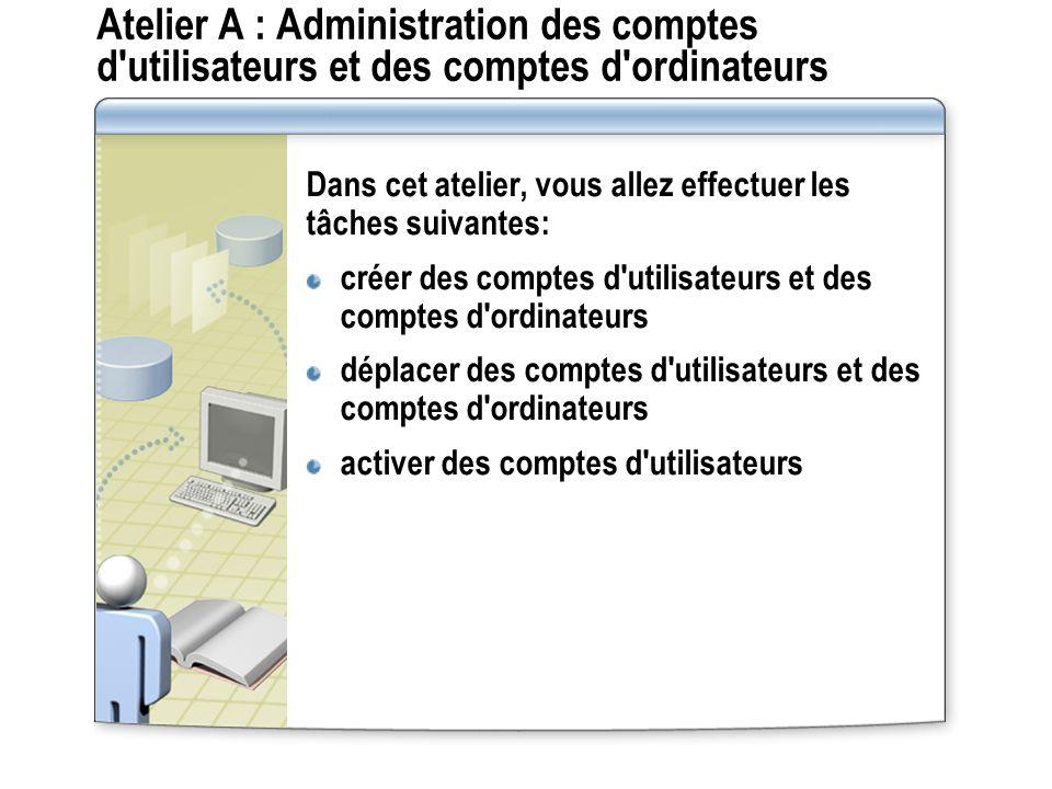 Atelier A : Administration des comptes d utilisateurs et des comptes d ordinateurs