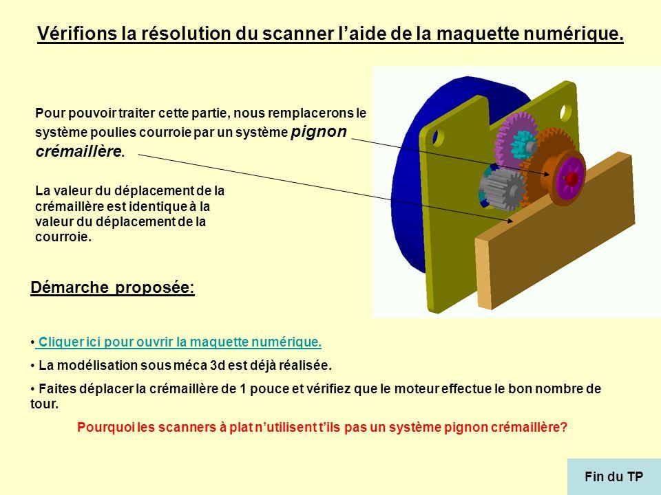 Vérifions la résolution du scanner l'aide de la maquette numérique.