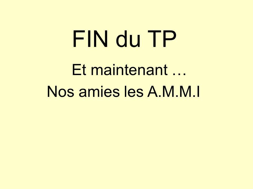 FIN du TP Et maintenant … Nos amies les A.M.M.I