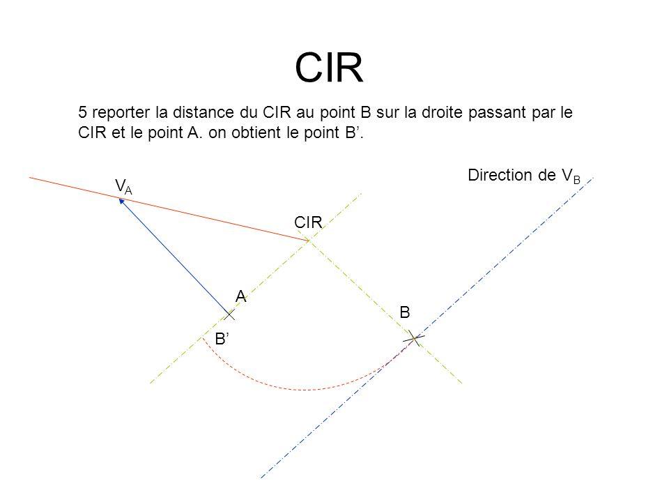 CIR 5 reporter la distance du CIR au point B sur la droite passant par le CIR et le point A. on obtient le point B'.
