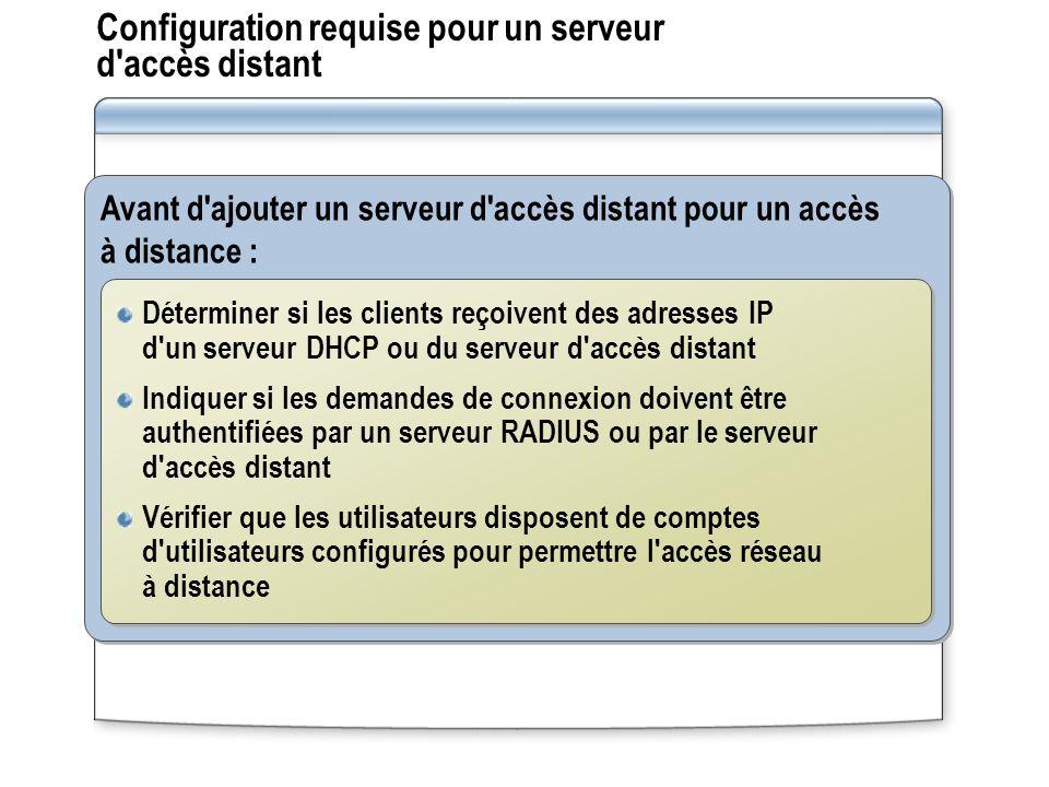 Configuration requise pour un serveur d accès distant