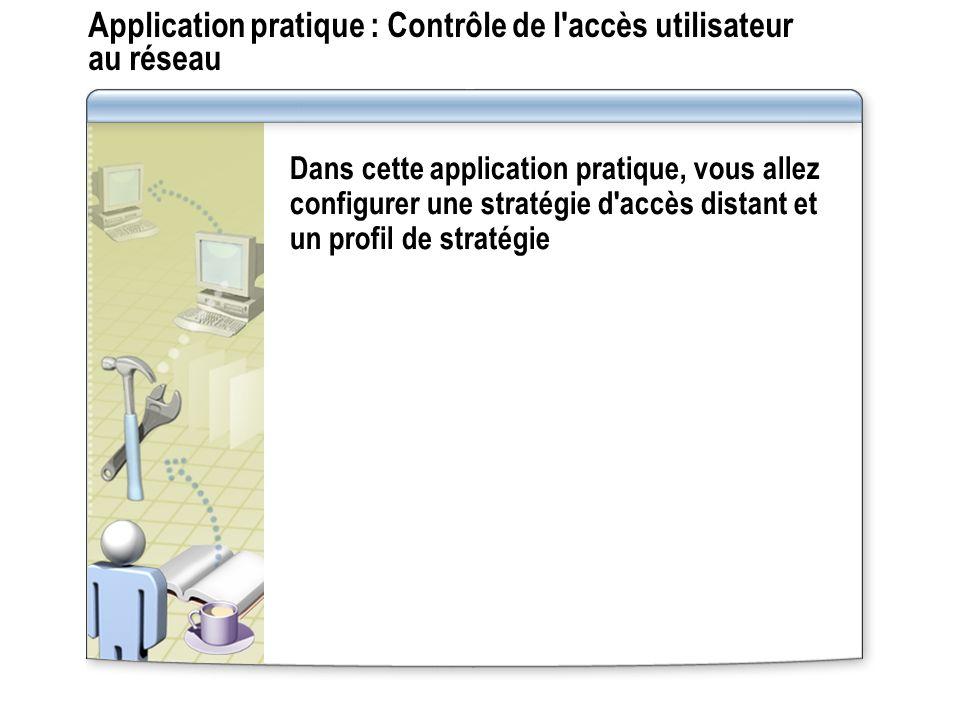 Application pratique : Contrôle de l accès utilisateur au réseau