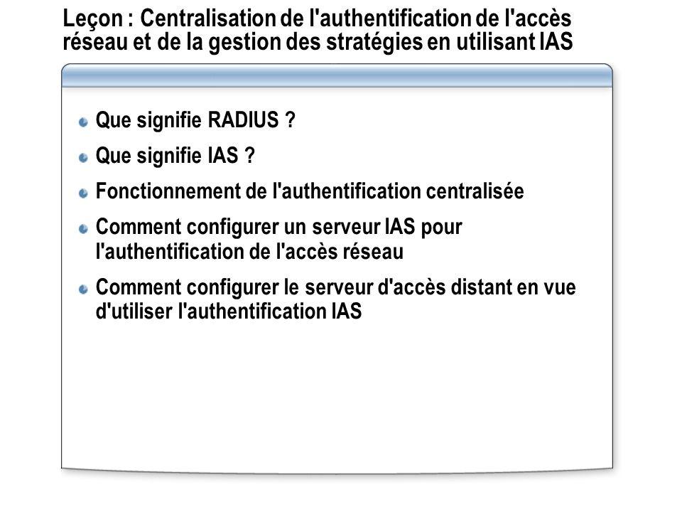Leçon : Centralisation de l authentification de l accès réseau et de la gestion des stratégies en utilisant IAS