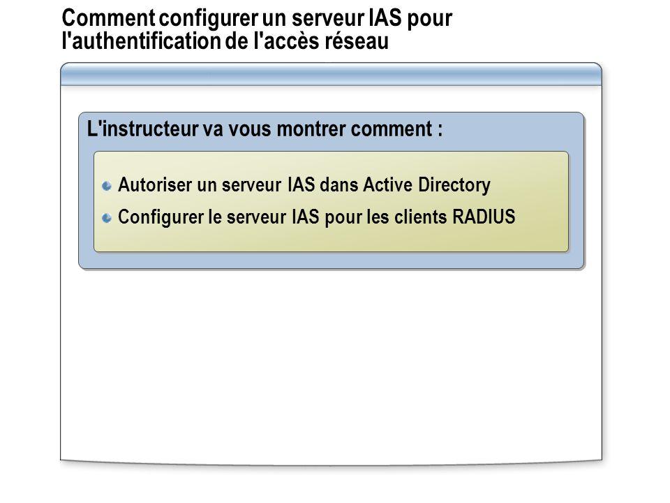 Comment configurer un serveur IAS pour l authentification de l accès réseau