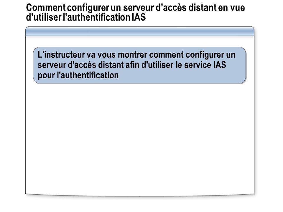 Comment configurer un serveur d accès distant en vue d utiliser l authentification IAS