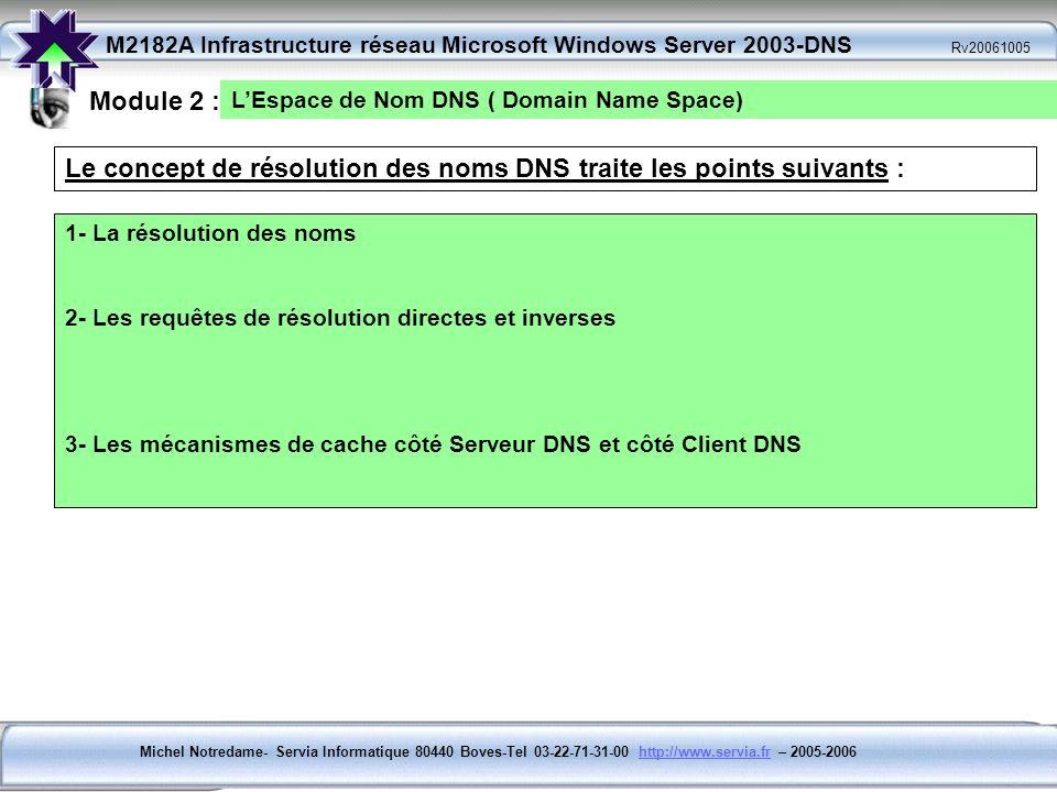 Le concept de résolution des noms DNS traite les points suivants :