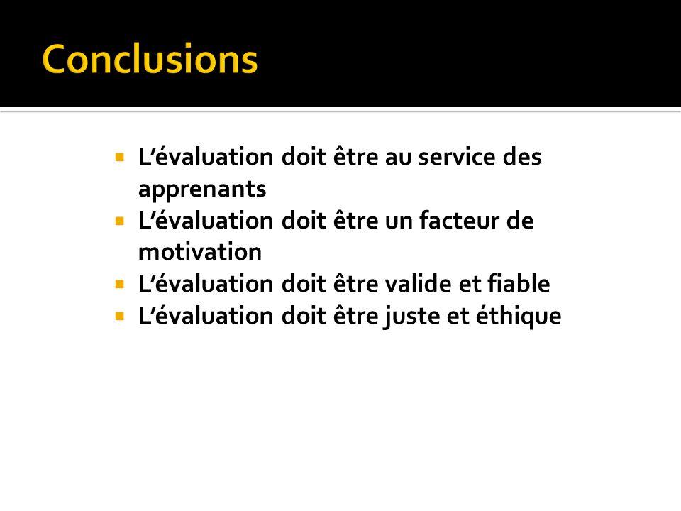 Conclusions L'évaluation doit être au service des apprenants