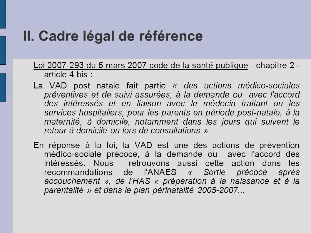 II. Cadre légal de référence