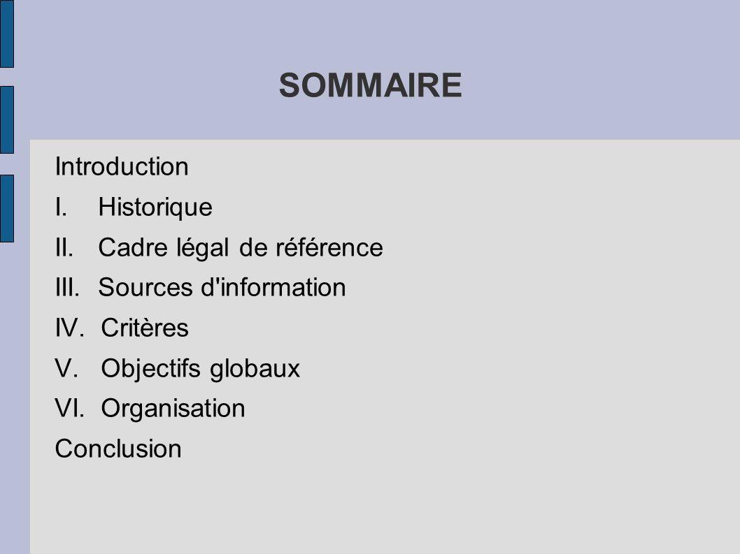 SOMMAIRE Introduction I. Historique II. Cadre légal de référence