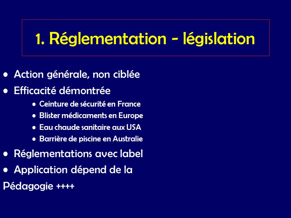 1. Réglementation - législation