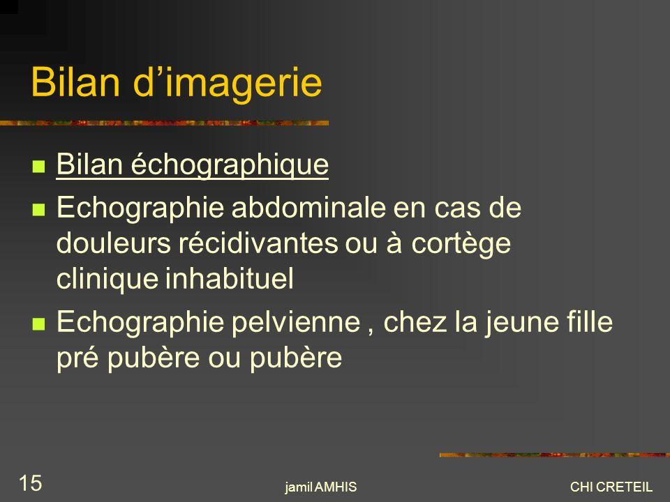 Bilan d'imagerie Bilan échographique