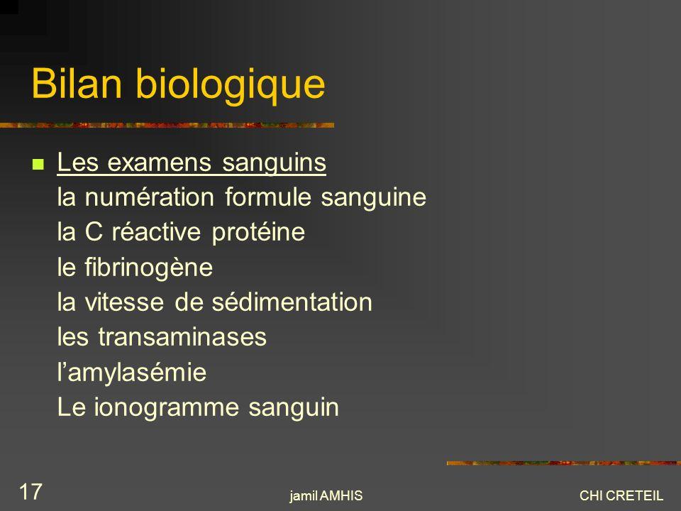 Bilan biologique Les examens sanguins la numération formule sanguine