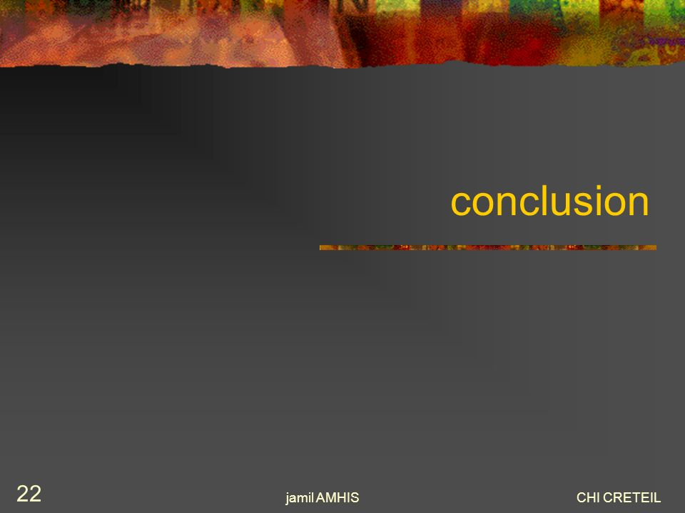 conclusion jamil AMHIS CHI CRETEIL