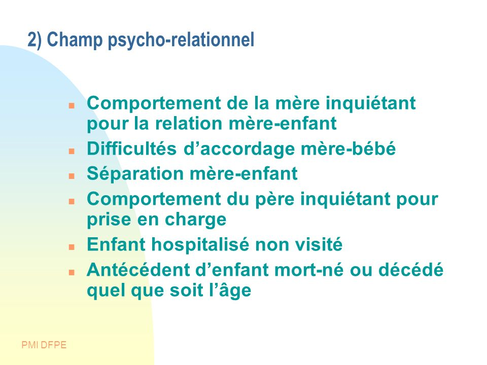 2) Champ psycho-relationnel