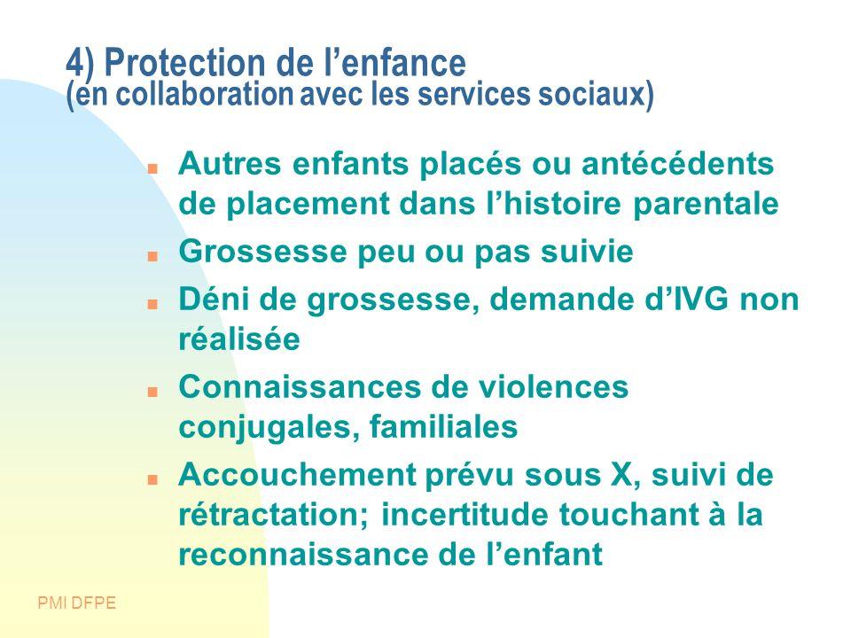 4) Protection de l'enfance (en collaboration avec les services sociaux)
