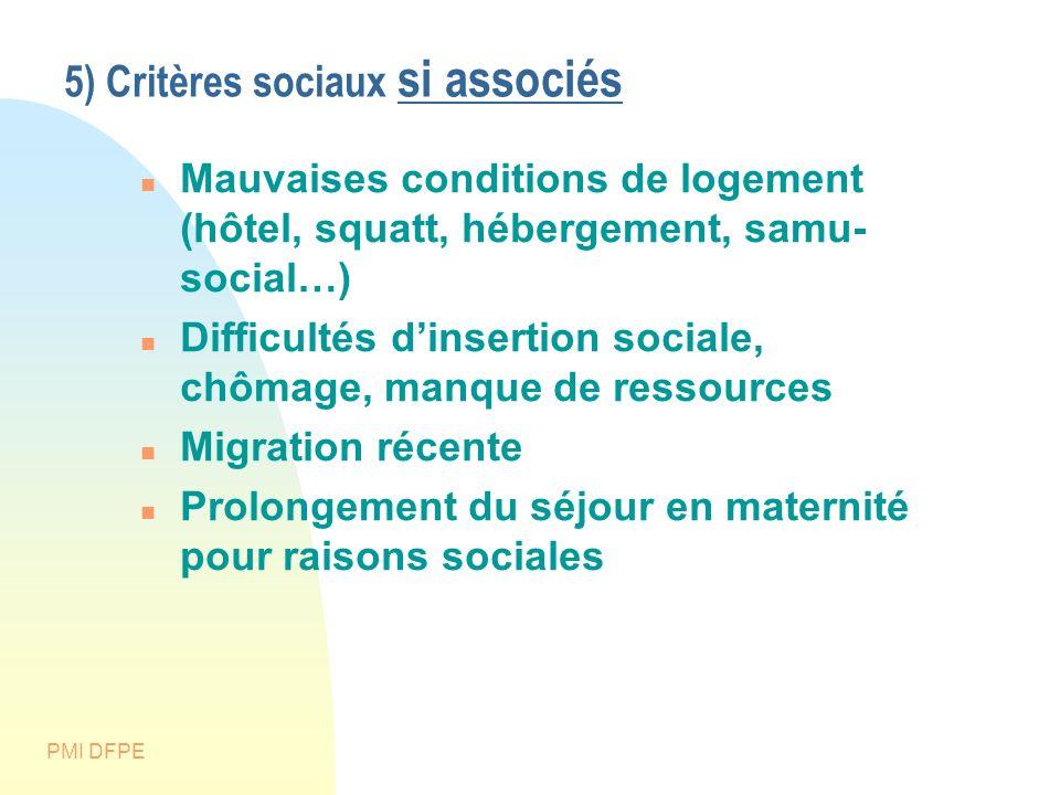 5) Critères sociaux si associés