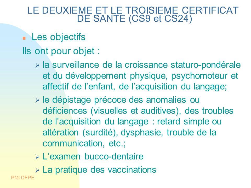 LE DEUXIEME ET LE TROISIEME CERTIFICAT DE SANTE (CS9 et CS24)