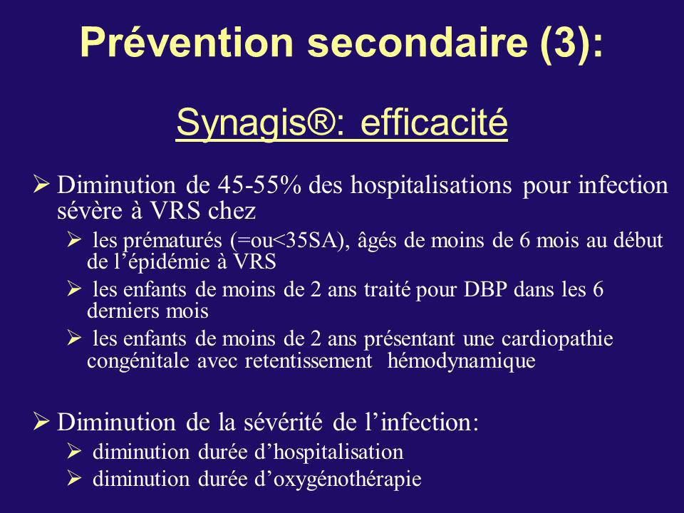 Prévention secondaire (3): Synagis®: efficacité