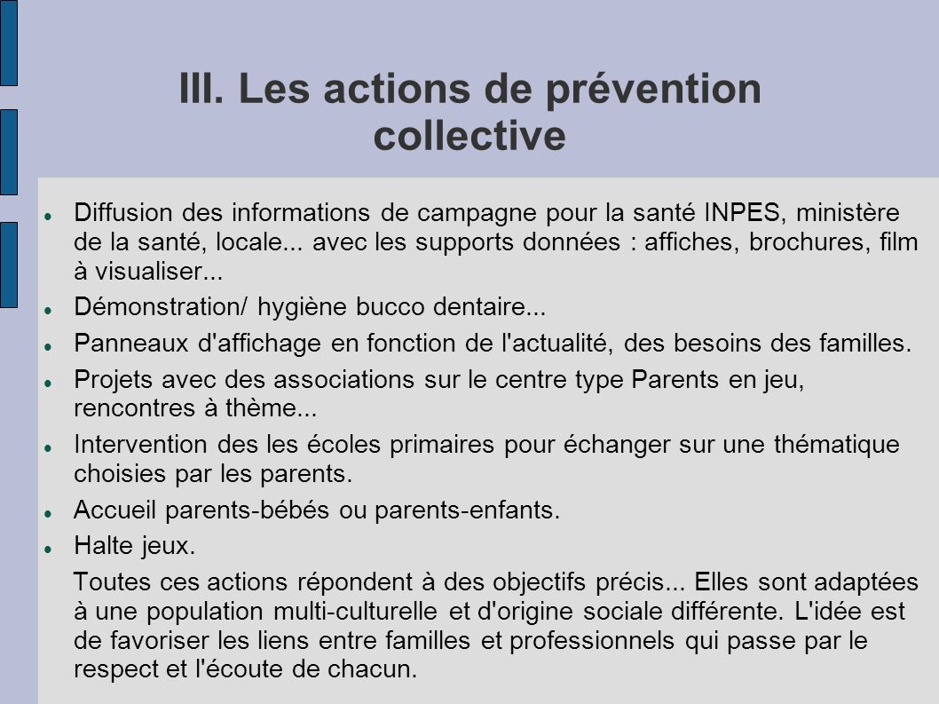 III. Les actions de prévention collective