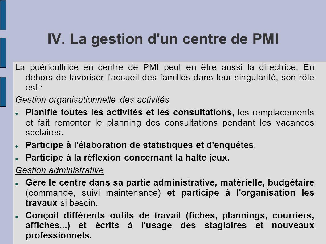 IV. La gestion d un centre de PMI