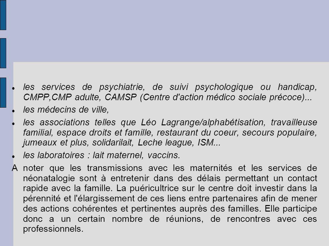 les services de psychiatrie, de suivi psychologique ou handicap, CMPP,CMP adulte, CAMSP (Centre d action médico sociale précoce)...