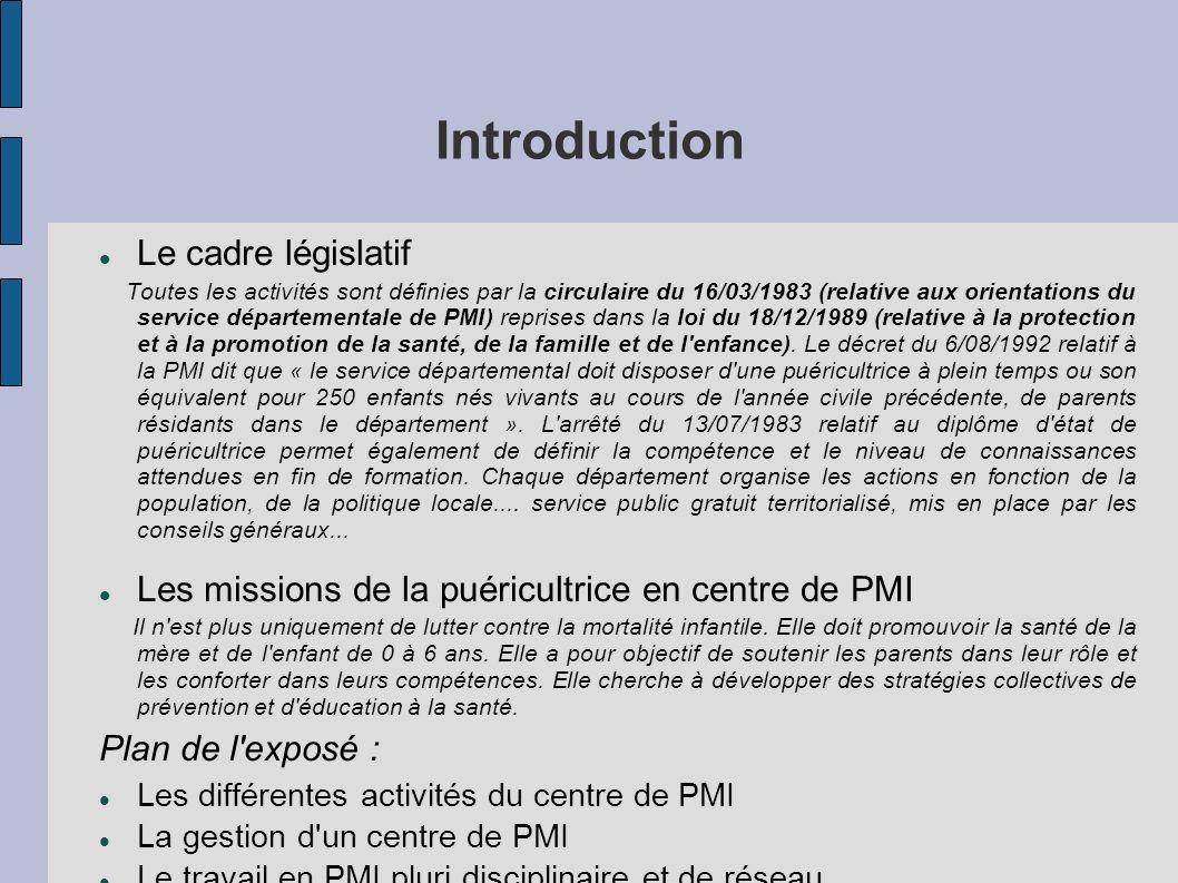 Introduction Le cadre législatif