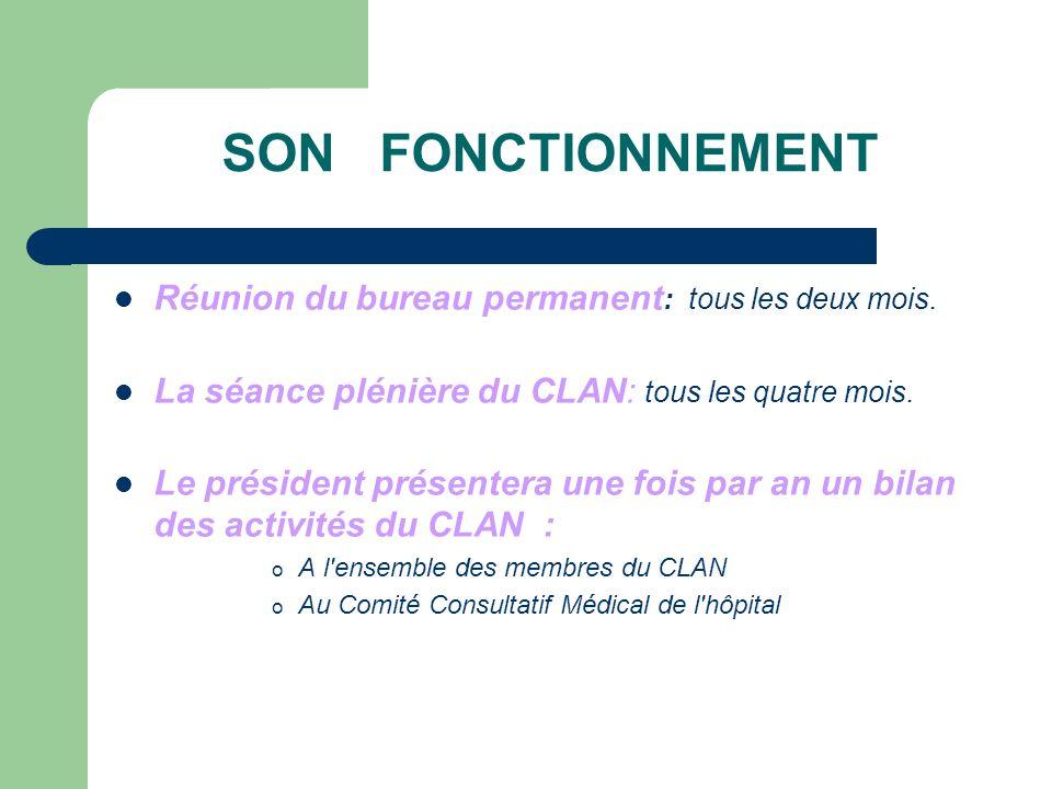 SON FONCTIONNEMENT Réunion du bureau permanent: tous les deux mois.
