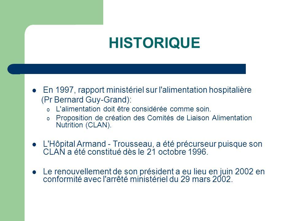 HISTORIQUE En 1997, rapport ministériel sur l alimentation hospitalière. (Pr Bernard Guy-Grand): L alimentation doit être considérée comme soin.