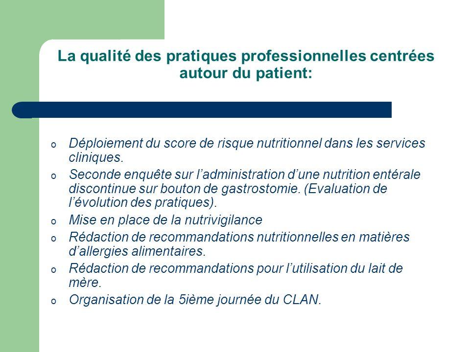 La qualité des pratiques professionnelles centrées autour du patient: