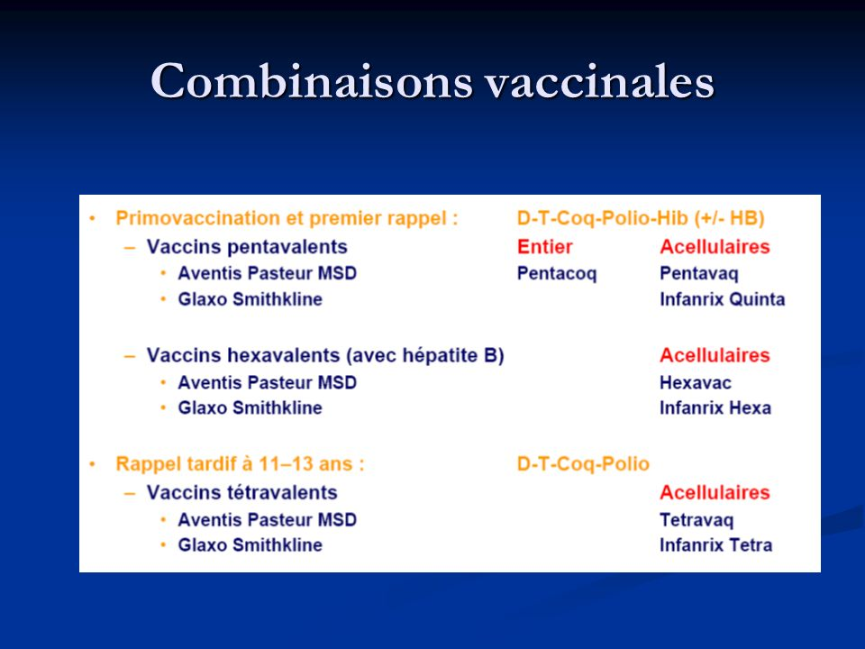 Combinaisons vaccinales