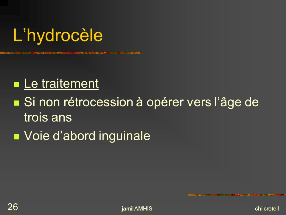 L'hydrocèle Le traitement