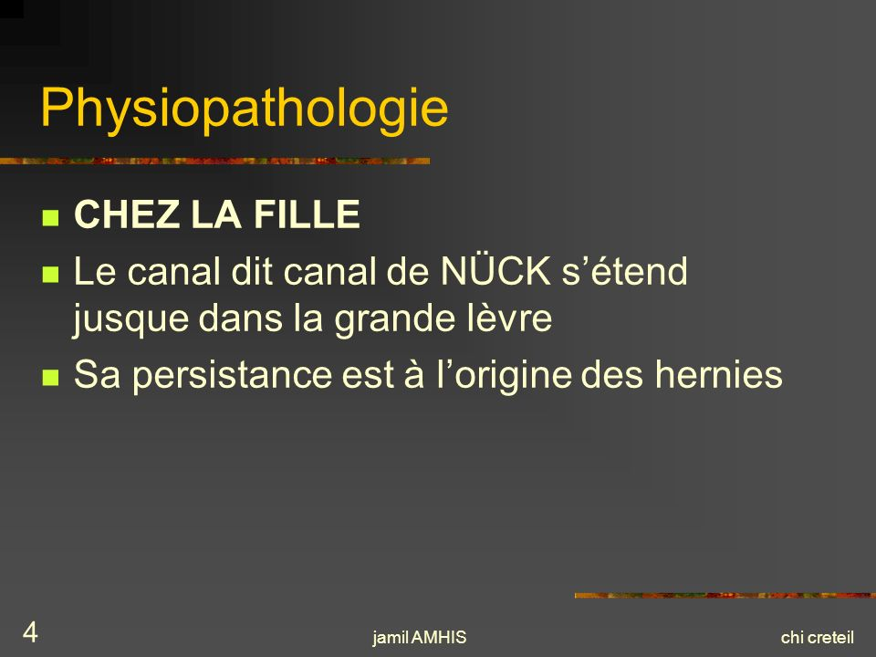 Physiopathologie CHEZ LA FILLE