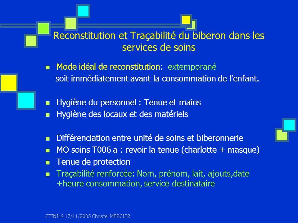 Reconstitution et Traçabilité du biberon dans les services de soins