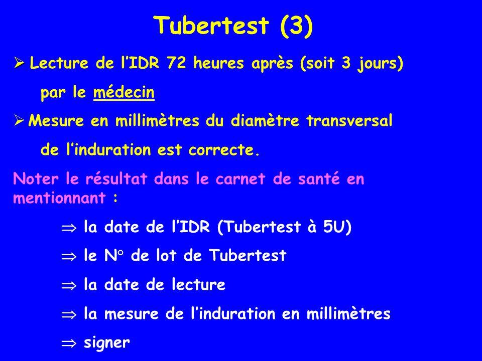 Tubertest (3)  Lecture de l'IDR 72 heures après (soit 3 jours)