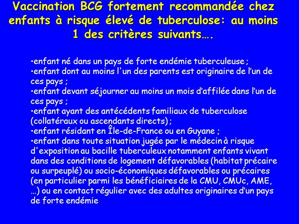 Vaccination BCG fortement recommandée chez enfants à risque élevé de tuberculose: au moins 1 des critères suivants….