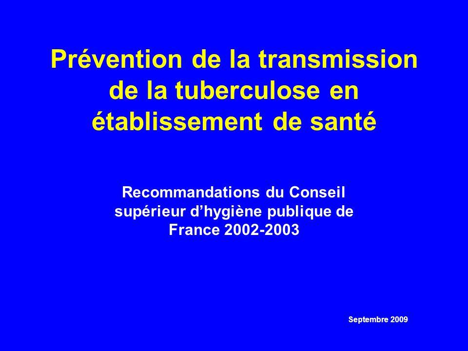 Prévention de la transmission de la tuberculose en établissement de santé