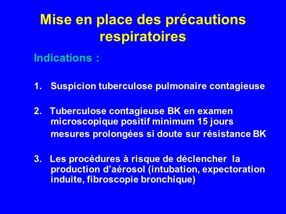 Mise en place des précautions respiratoires