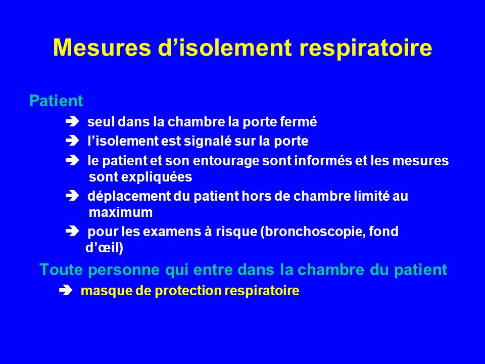 Mesures d'isolement respiratoire