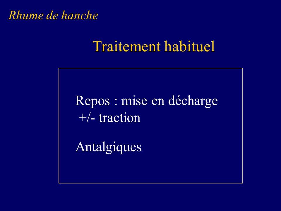 Traitement habituel Repos : mise en décharge +/- traction Antalgiques